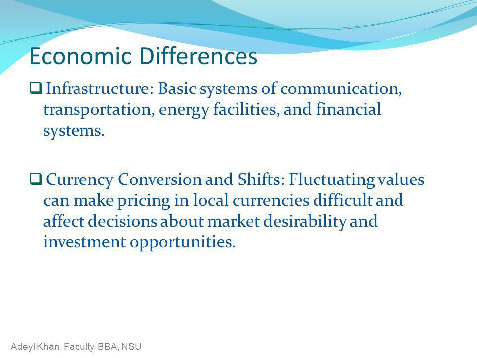 Economic Differences Infrastructure: Basic systems of communication, transportation, energy facilities, and financial systems.