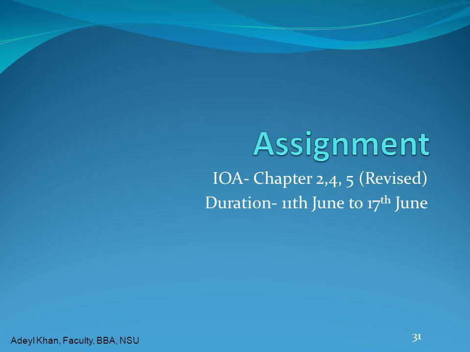 IOA- Chapter 2,4, 5 (Revised) Duration- 11th June to 17th June