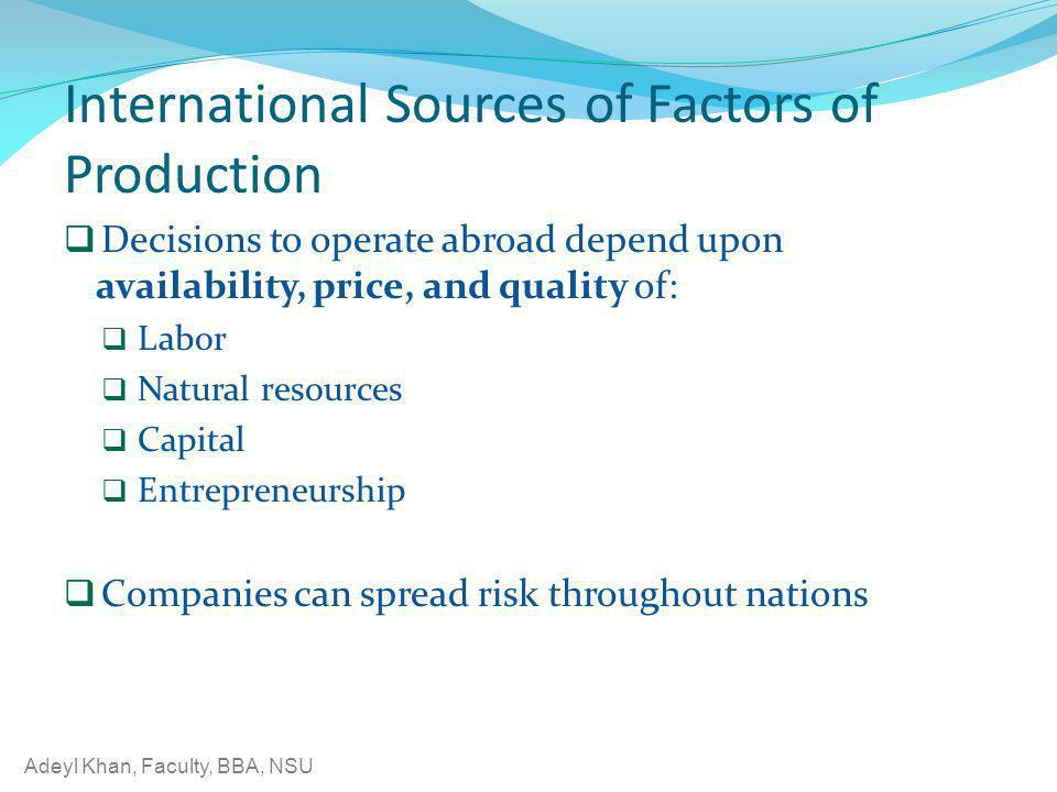 International Sources of Factors of Production