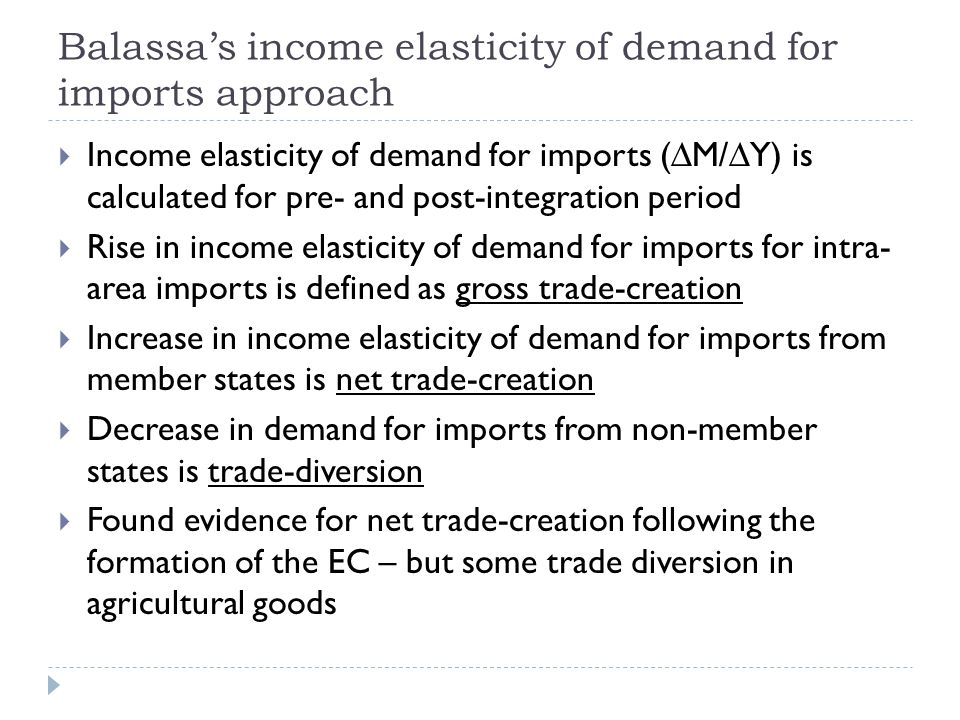 Balassa's income elasticity of demand for imports approach