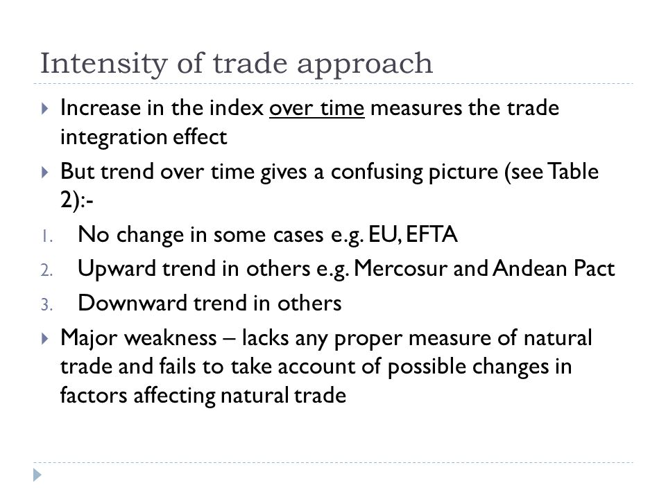 Intensity of trade approach