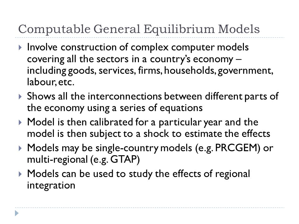 Computable General Equilibrium Models