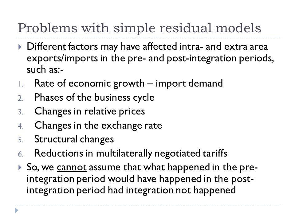 Problems with simple residual models