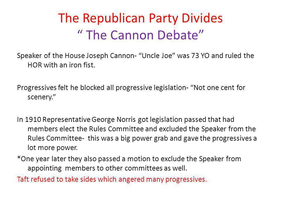 The Republican Party Divides The Cannon Debate