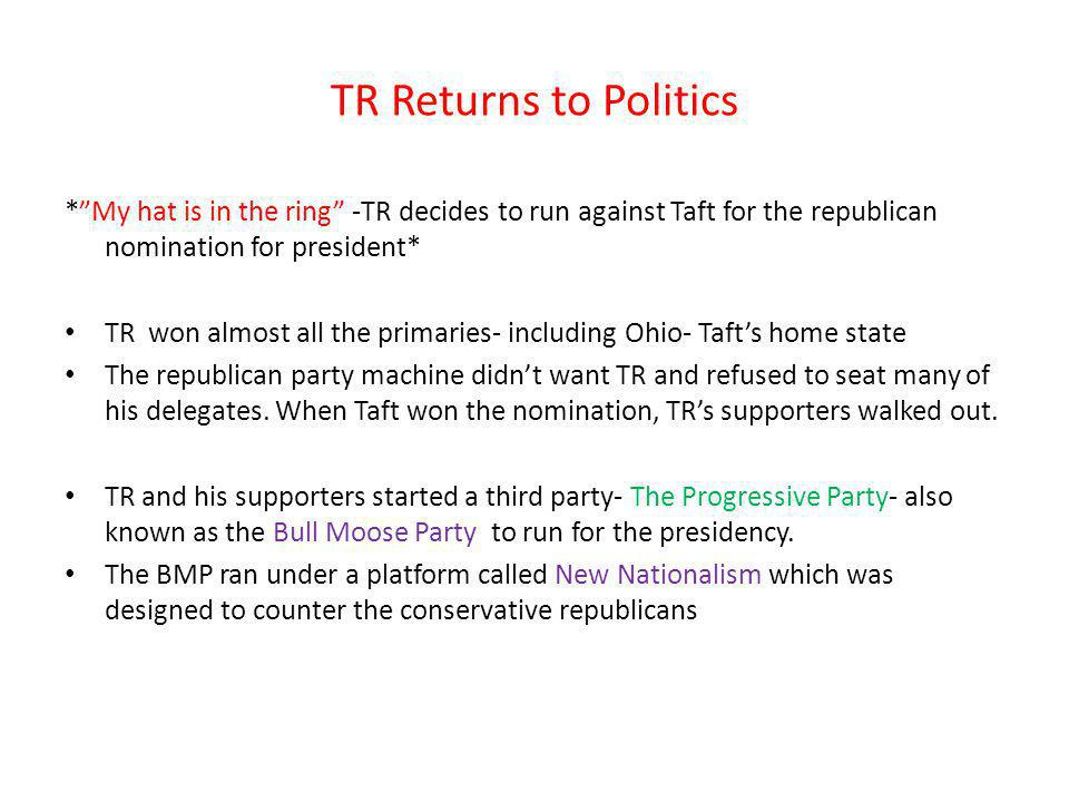TR Returns to Politics * My hat is in the ring -TR decides to run against Taft for the republican nomination for president*