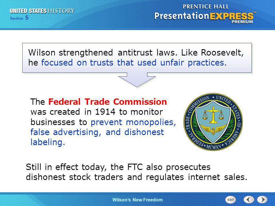 Wilson strengthened antitrust laws