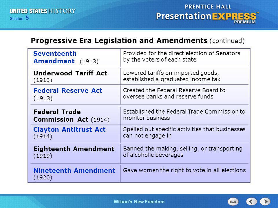 Progressive Era Legislation and Amendments (continued)
