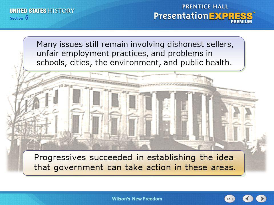Many issues still remain involving dishonest sellers, unfair employment practices, and problems in schools, cities, the environment, and public health.