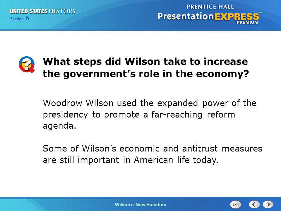 What steps did Wilson take to increase the government's role in the economy