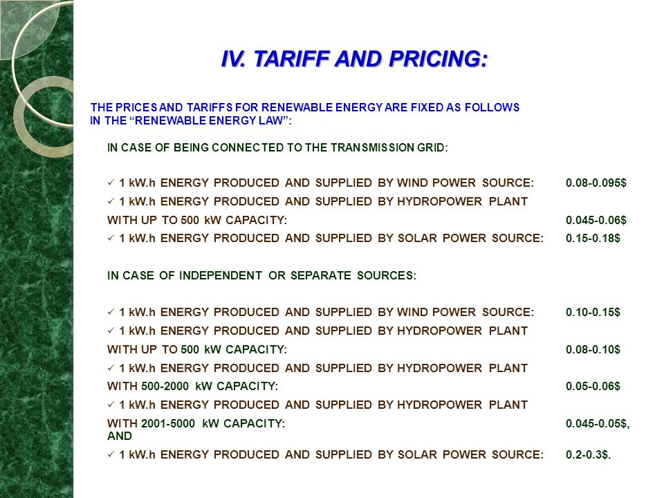IV. TARIFF AND PRICING: THE PRICES AND TARIFFS FOR RENEWABLE ENERGY ARE FIXED AS FOLLOWS. IN THE RENEWABLE ENERGY LAW :