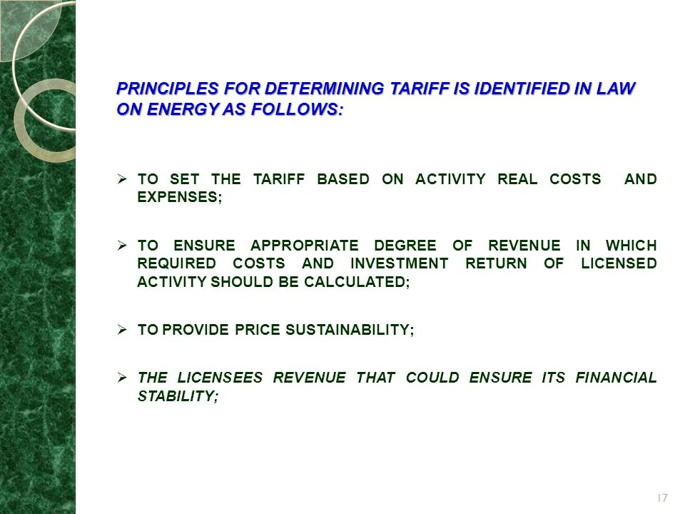 PRINCIPLES FOR DETERMINING TARIFF IS IDENTIFIED IN LAW ON ENERGY AS FOLLOWS: