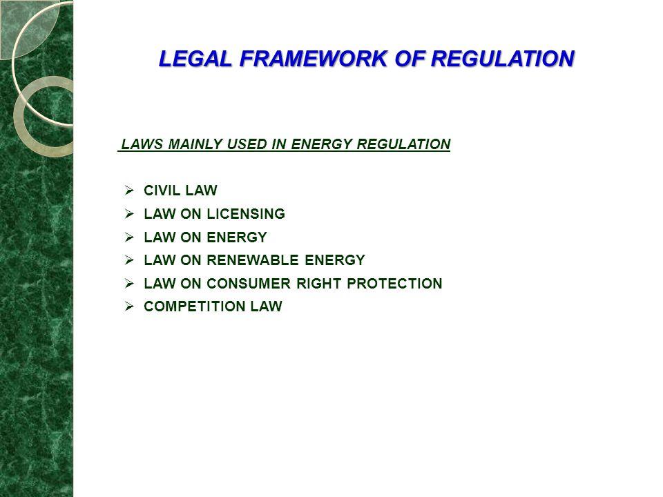 LEGAL FRAMEWORK OF REGULATION