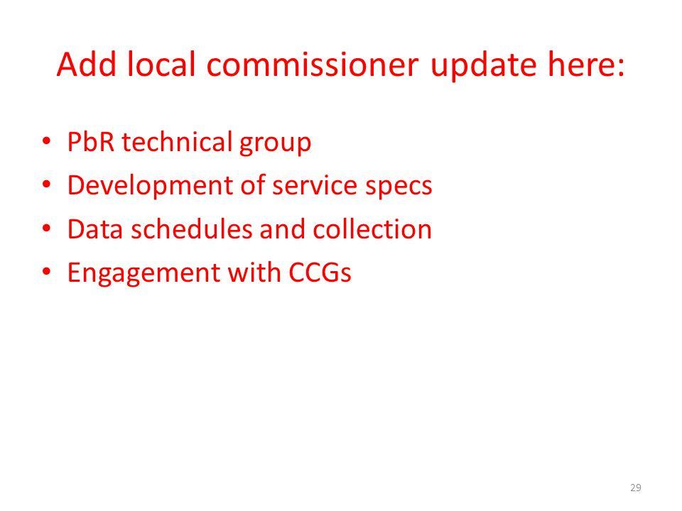 Add local commissioner update here: