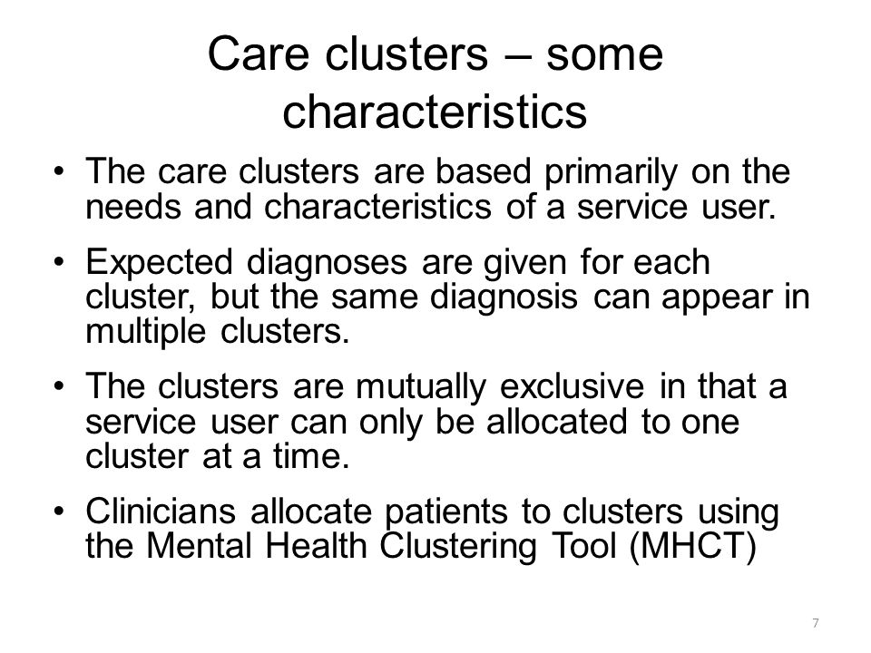 Care clusters – some characteristics