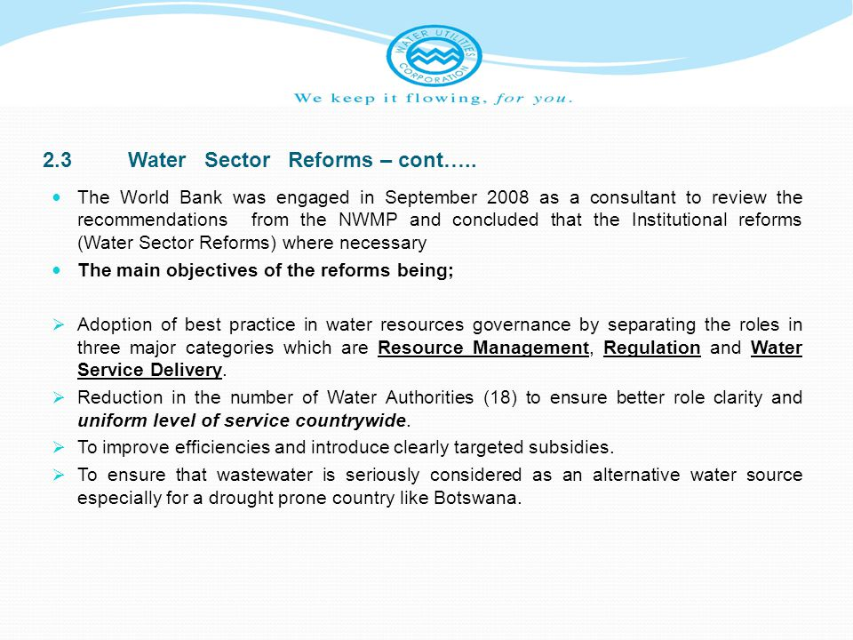 2.3 Water Sector Reforms – cont…..