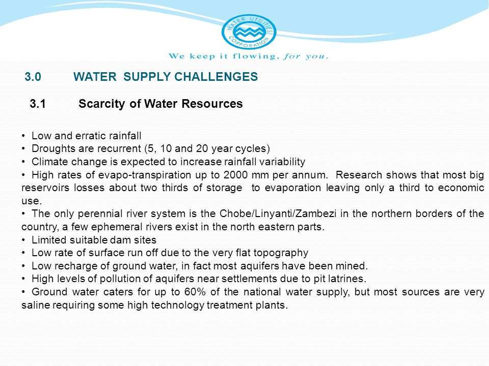 3.0 WATER SUPPLY CHALLENGES