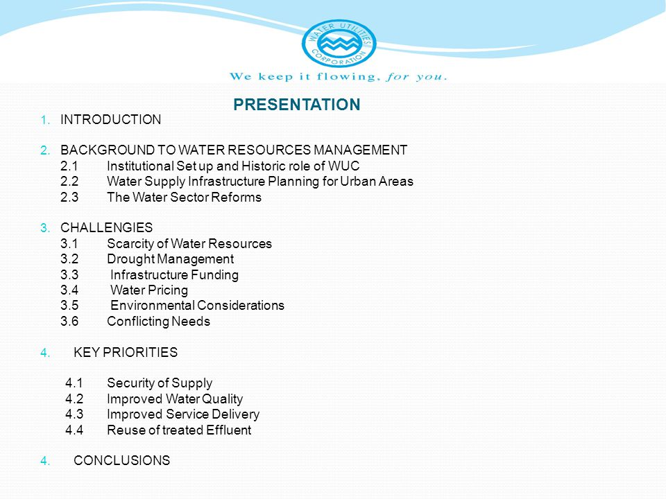 PRESENTATION INTRODUCTION Background to Water Resources Management