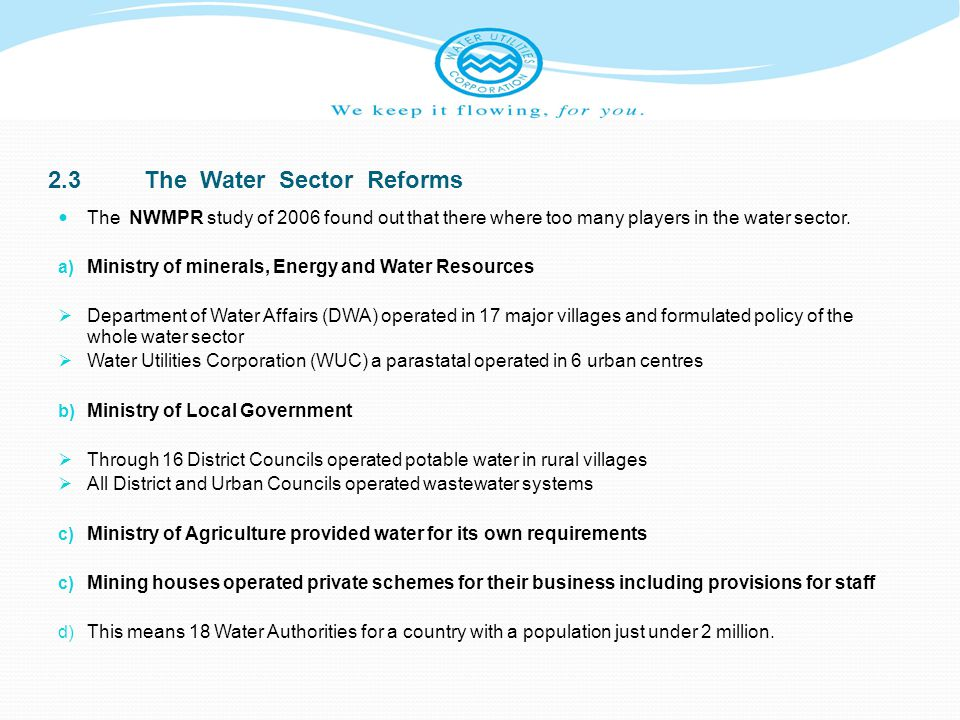 2.3 The Water Sector Reforms