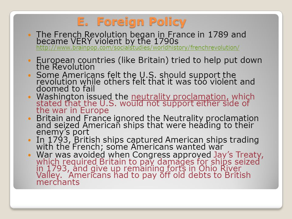 E. Foreign Policy