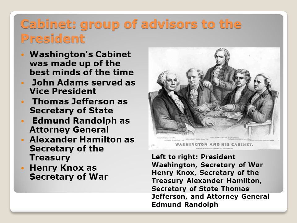 Cabinet: group of advisors to the President