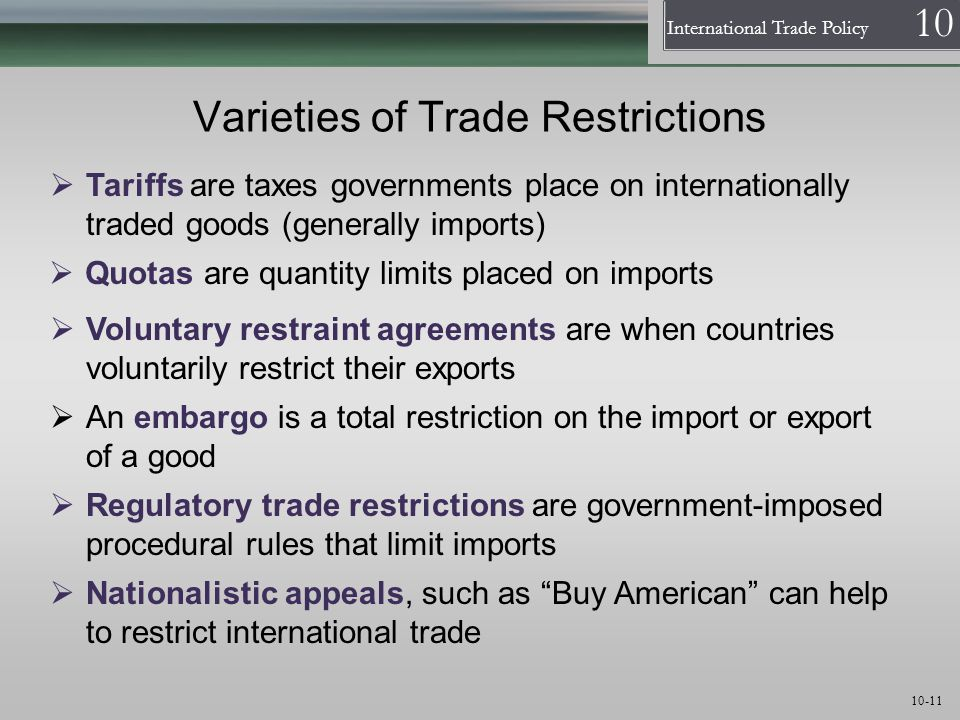 Varieties of Trade Restrictions