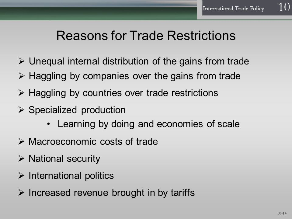 Reasons for Trade Restrictions