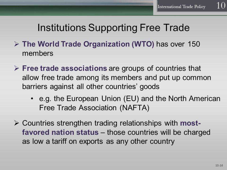 Institutions Supporting Free Trade