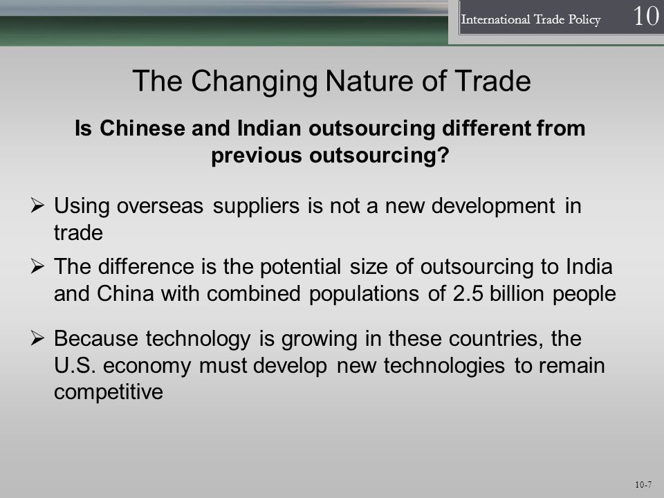 The Changing Nature of Trade