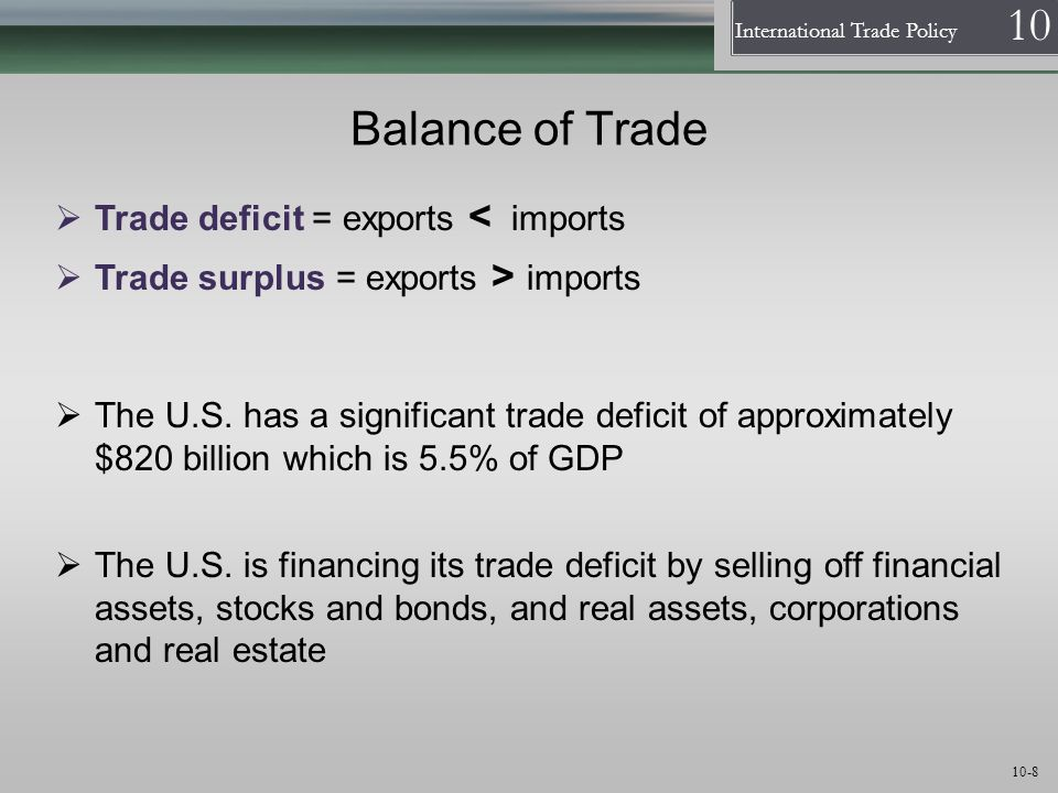 Balance of Trade Trade deficit = exports < imports