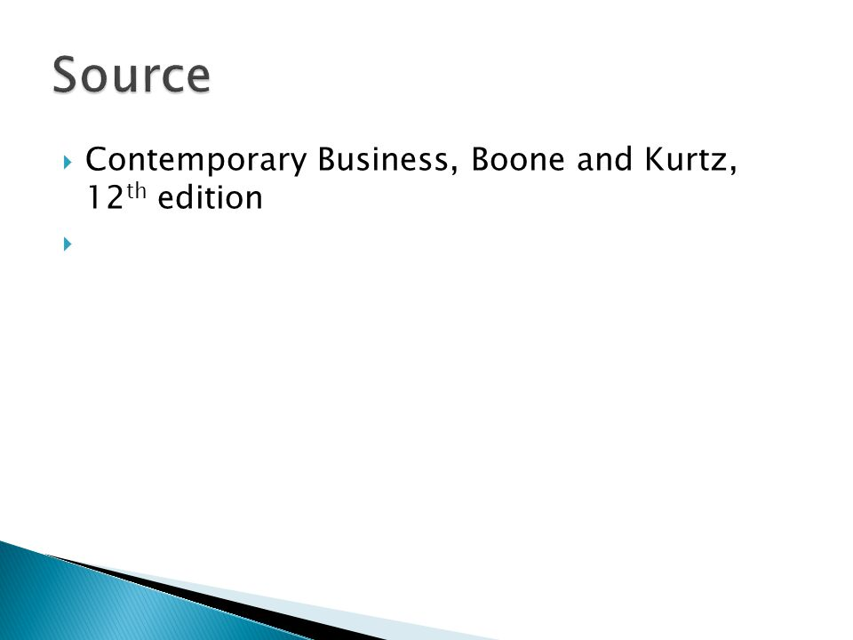 Source Contemporary Business, Boone and Kurtz, 12th edition