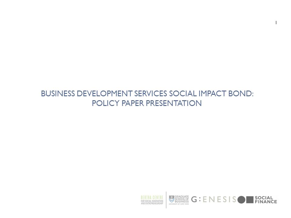 Business Development Services Social Impact Bond: Policy Paper Presentation
