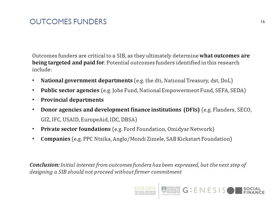outcomes funders
