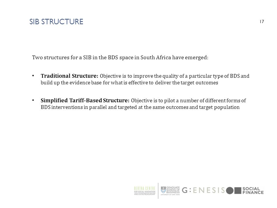 SIB Structure Two structures for a SIB in the BDS space in South Africa have emerged: