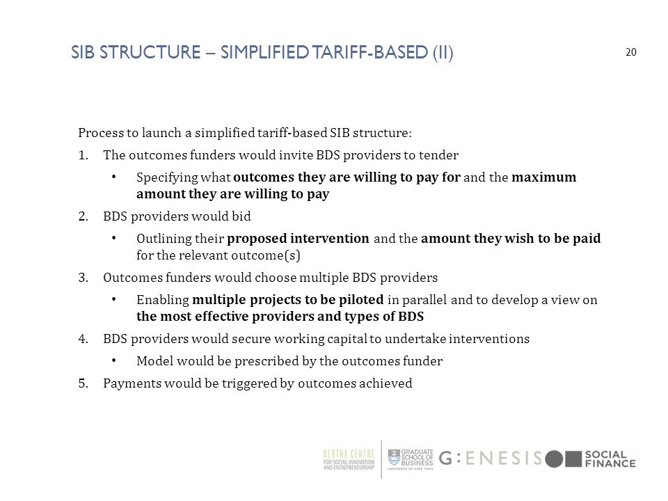 SIB Structure – Simplified TARIFF-BASED (II)