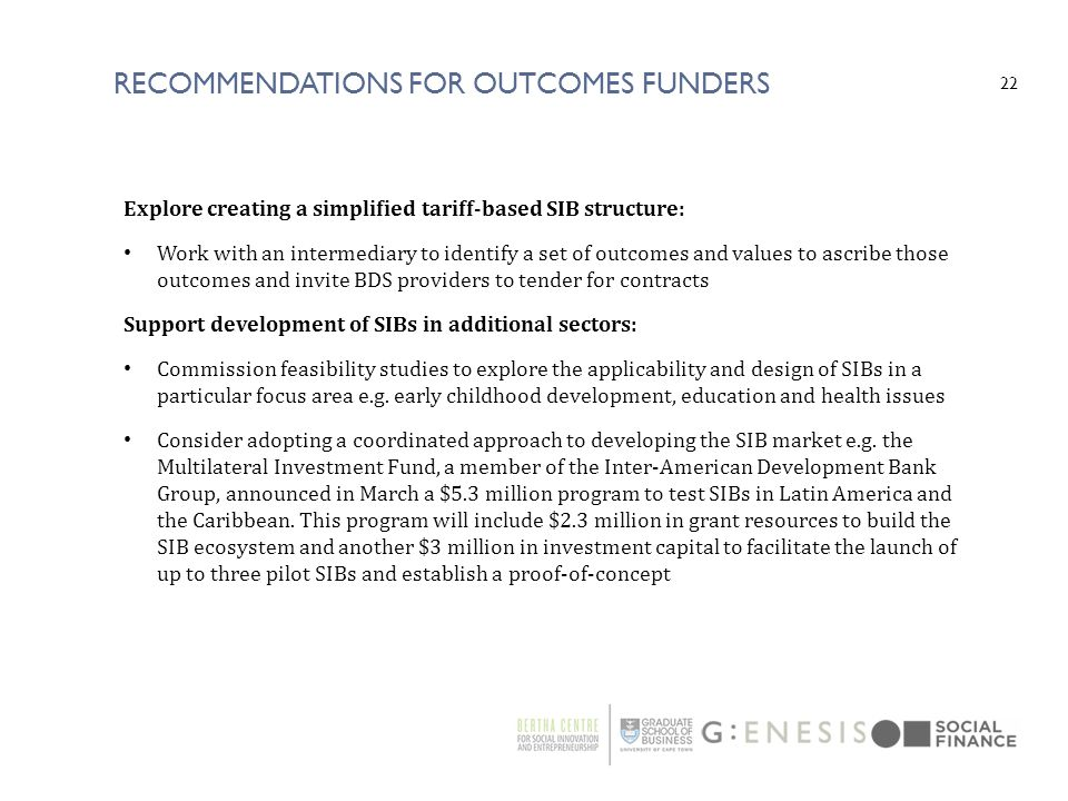 Recommendations For outcomes funders
