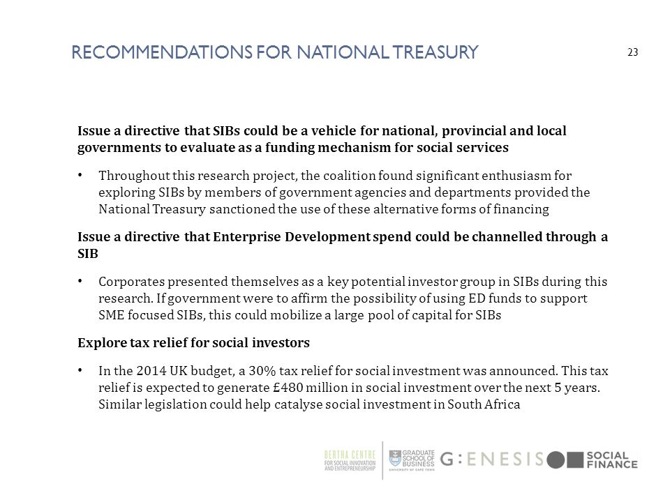 Recommendations For National Treasury