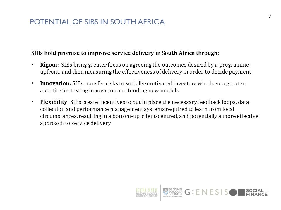 Potential of SIBS in South Africa