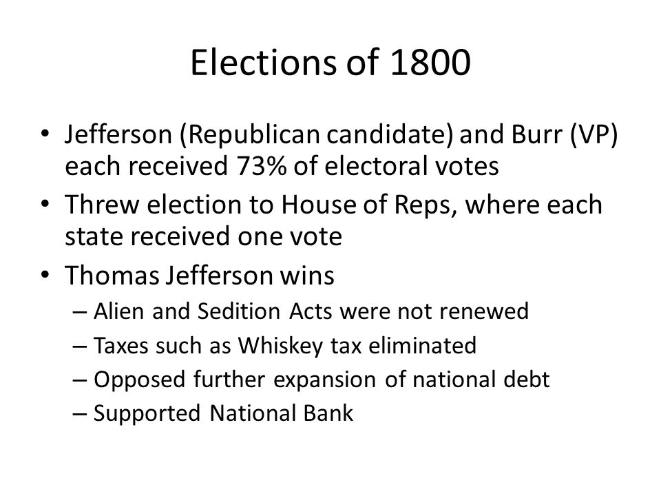 Elections of 1800 Jefferson (Republican candidate) and Burr (VP) each received 73% of electoral votes.