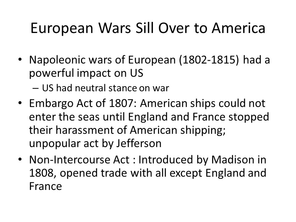 European Wars Sill Over to America