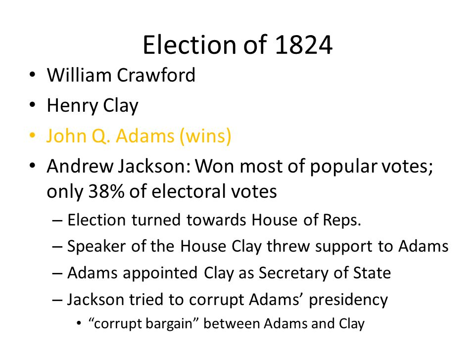 Election of 1824 William Crawford Henry Clay John Q. Adams (wins)