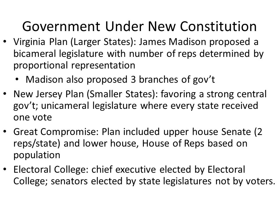 Government Under New Constitution