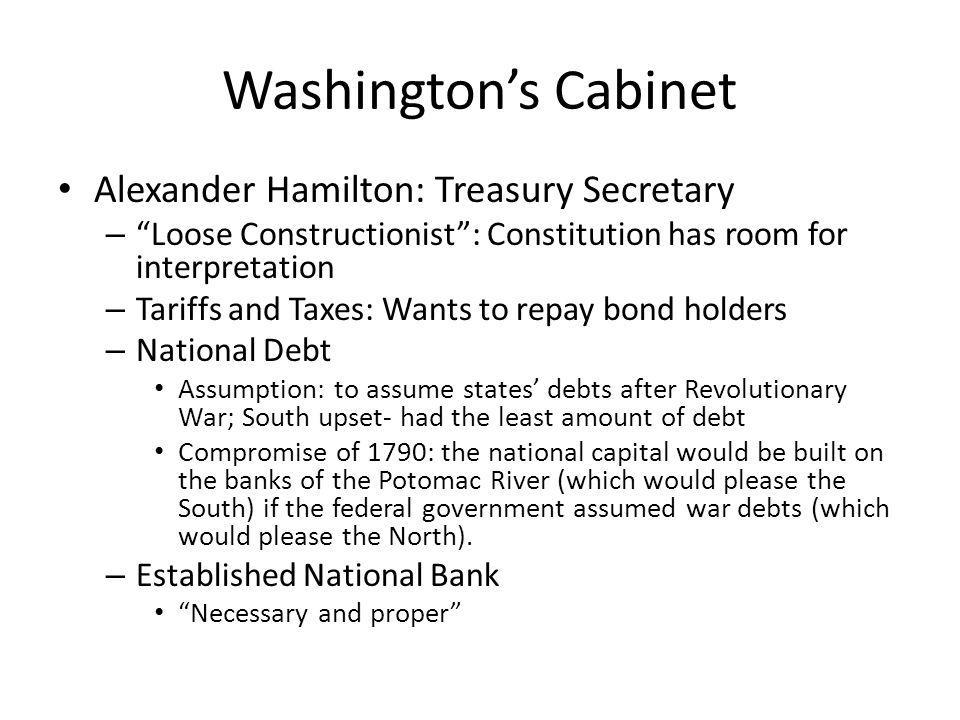 Washington's Cabinet Alexander Hamilton: Treasury Secretary