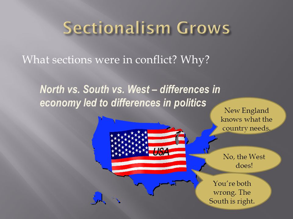 Sectionalism Grows What sections were in conflict Why