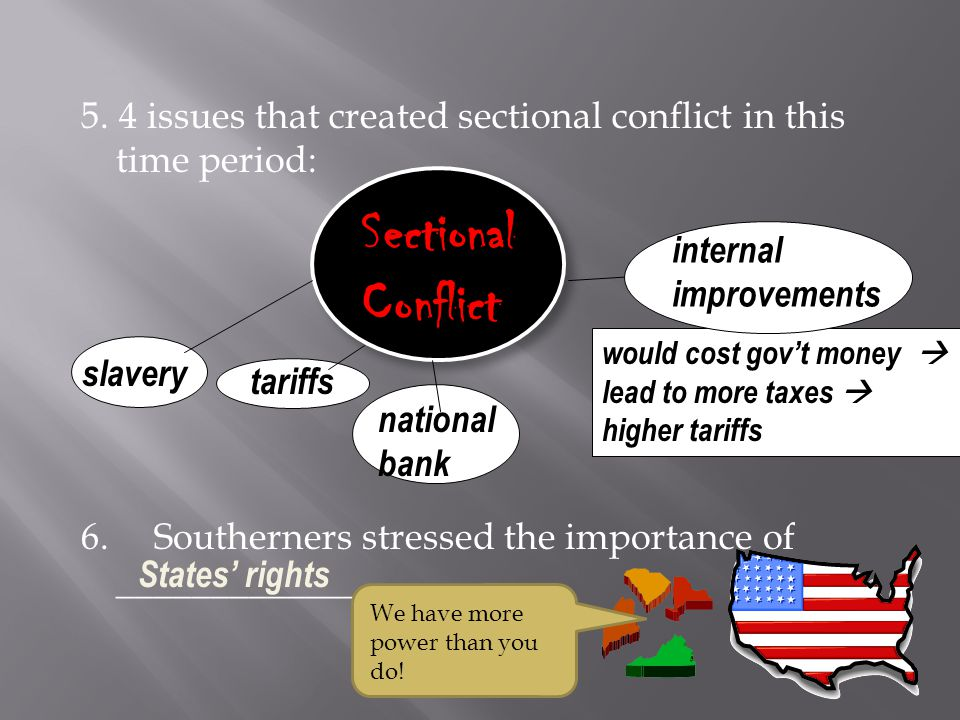 5. 4 issues that created sectional conflict in this time period: