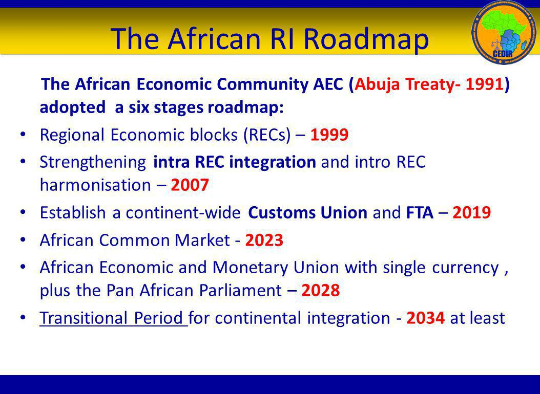 The African RI Roadmap The African Economic Community AEC (Abuja Treaty- 1991) adopted a six stages roadmap: