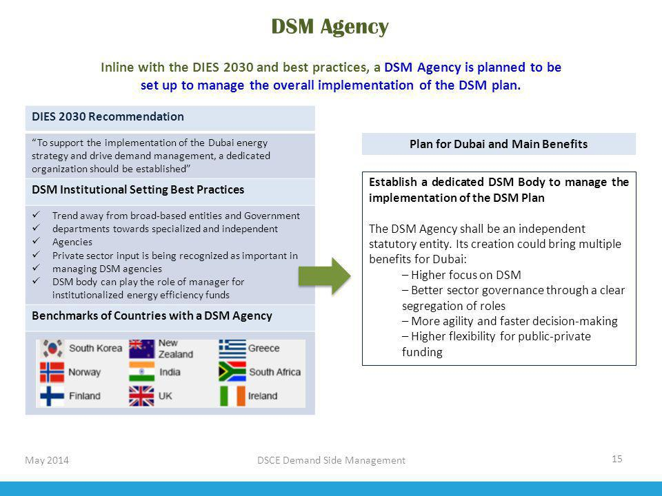 DSM Agency Inline with the DIES 2030 and best practices, a DSM Agency is planned to be. set up to manage the overall implementation of the DSM plan.