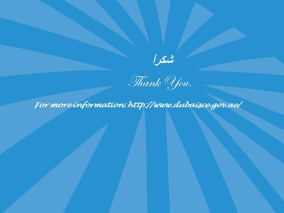 شكراً For more information: http://www.dubaisce.gov.ae/