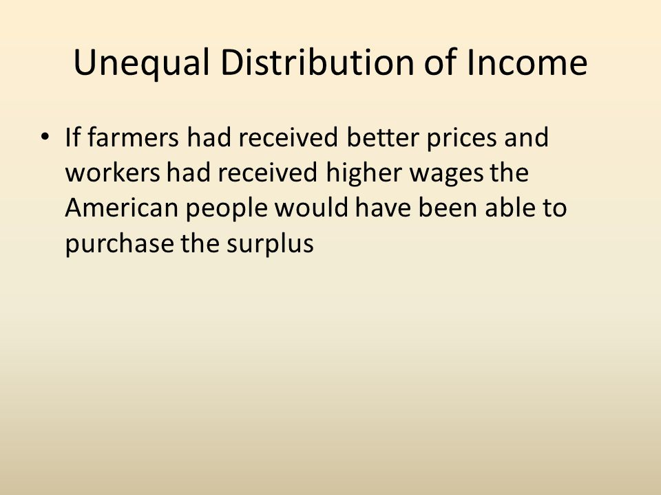 Unequal Distribution of Income
