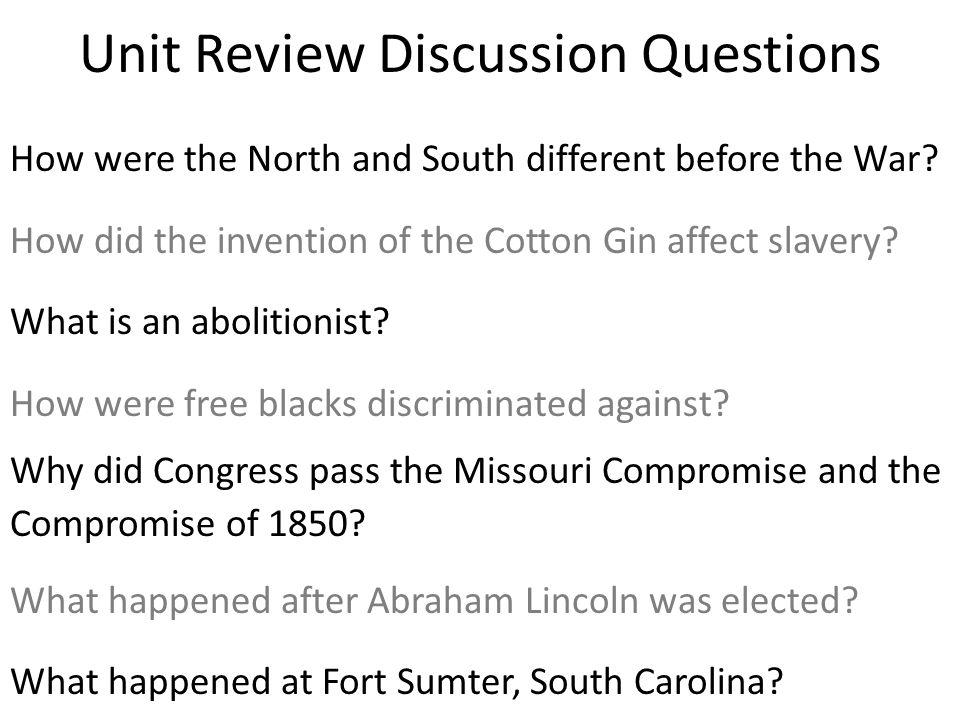 Unit Review Discussion Questions
