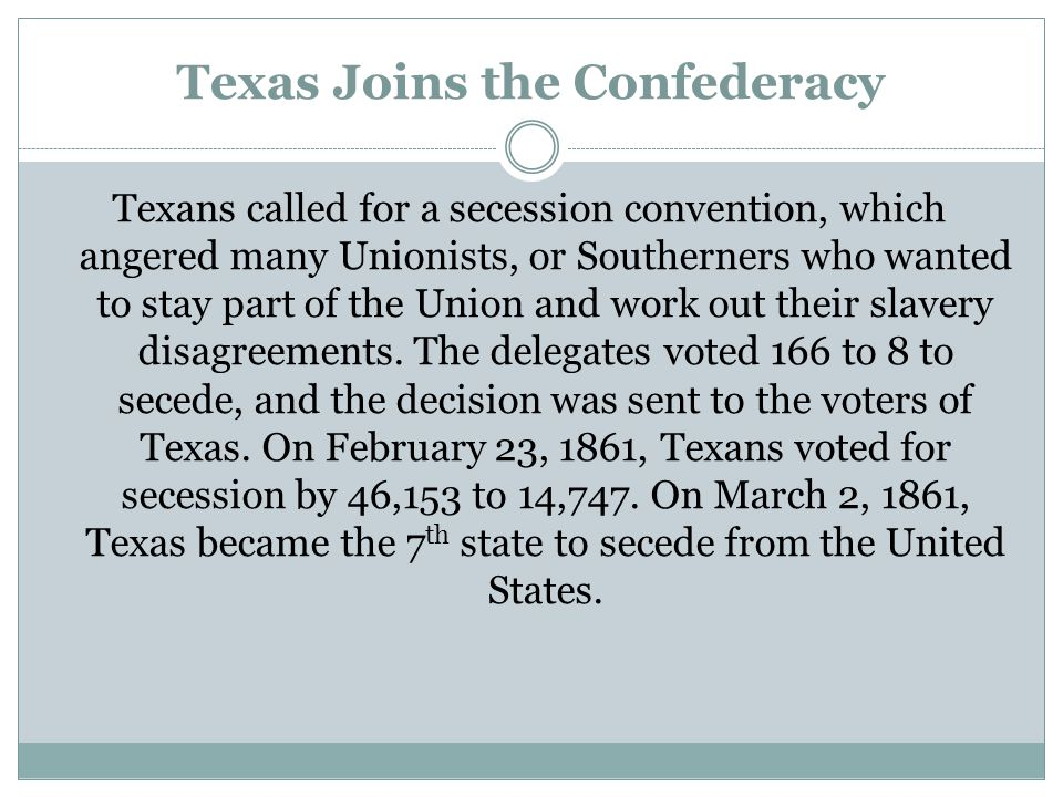 Texas Joins the Confederacy